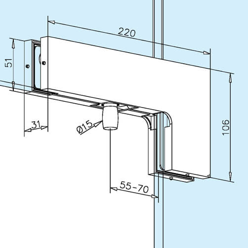 Glass Door Patch Over Glass Corner Pivot Stainless Steel S3i Group
