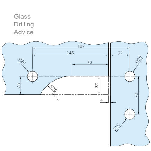 Door Patch - Over Glass Corner Pivot - Drilling
