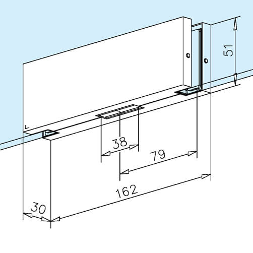 Glass Door Patch Strike Box - Dimensions