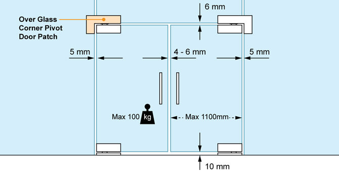 Glass Door Patch - Over Glass Corner Pivot - Position