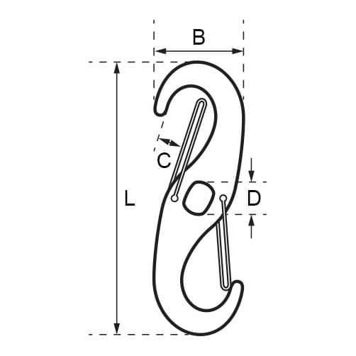 Double Spring Snap Hook - Dimensions