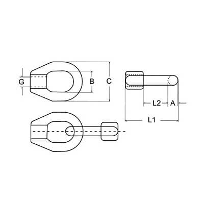 Double Threaded Guardrail Eye - Guardrail Fitting - Diagram