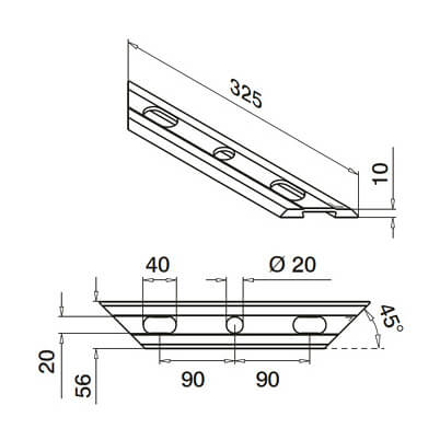 Drainage Profile - Glass Channel Balustrade - Dimensions