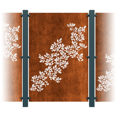 Drift Decorative Garden Screen Kit - Corten Steel