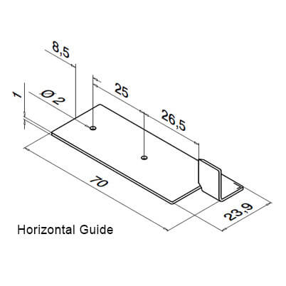Drilling Template - Horizontal - Dimensions