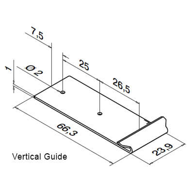 Drilling Template - Vertical - Dimensions