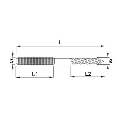 Stainless Steel Dual Thread Screw Diagram