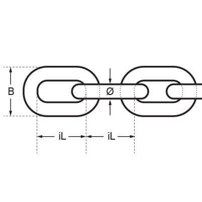 Duplex Stainless Steel Chain - Dimensions