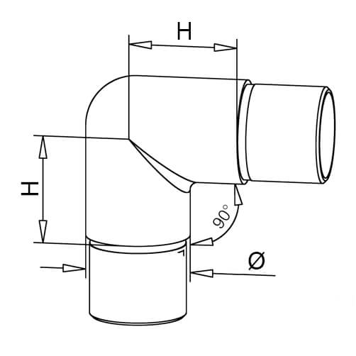 Tube Connector - Smooth 90 Degree Elbow - Dimensions