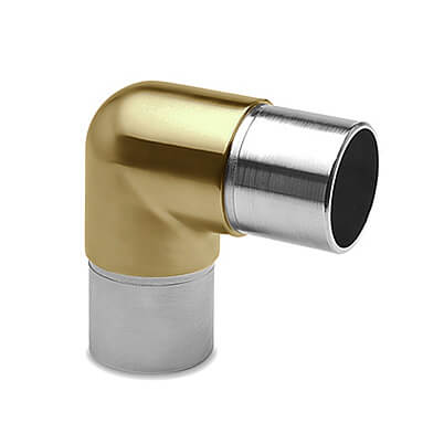 Tube Connector - Smooth 90 Degree Elbow - Matt Brass Finish