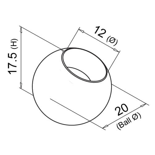 Decorative End Ball For 12mm Bar - Diagram