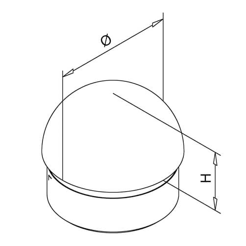 Domed End Cap - Bar Railing - Dimensions