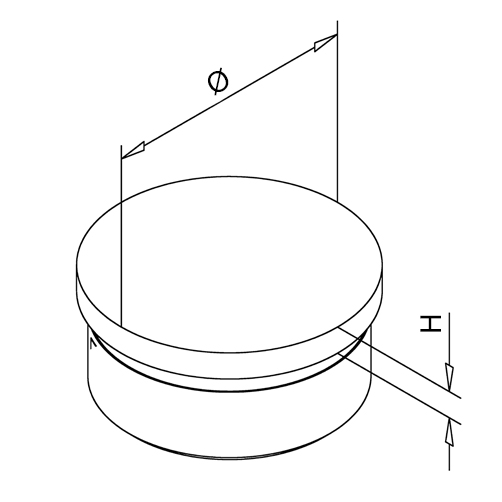 Flat End Cap - Bar Railing - Dimensions