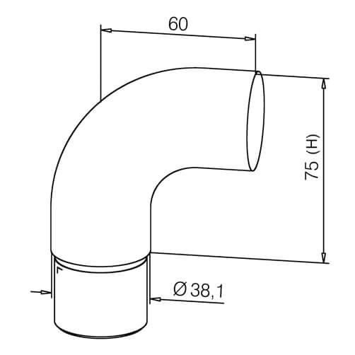 Scroll End Cap - Bar Railing - Dimensions