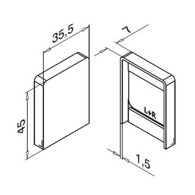 End Cap - Base Channel Mounting Profile - Dimensions