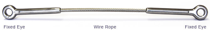 Fixed Eye to Eye Wire Rope Assembly - 316 Stainless Steel