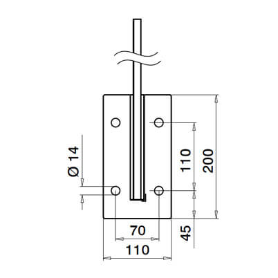 Fascia Mount Baluster Post - Mounting Plate - Dimensions