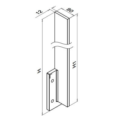 Fascia Mount Baluster Post - 1465mm - Dimensions
