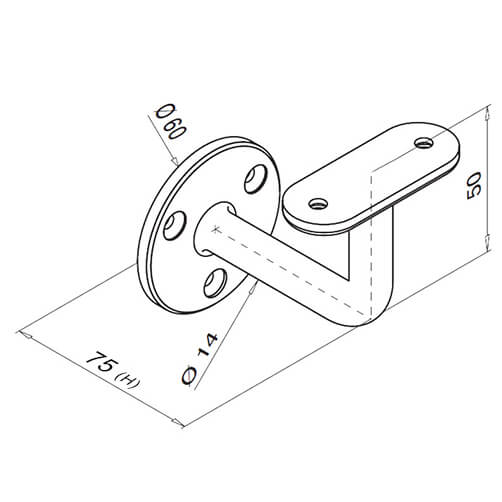 Flat Plate Mount To Flat Support Handrail Bracket For Modular Stainless Steel Balustrade - Diagram