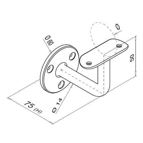 Flat Disc To Tube Support Handrail Bracket For Modular Stainless Steel Balustrade - Diagram