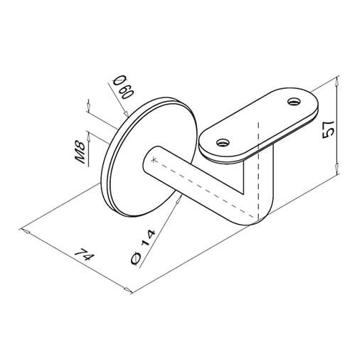 Flat Plate To Flat Support Handrail Bracket Dimensions