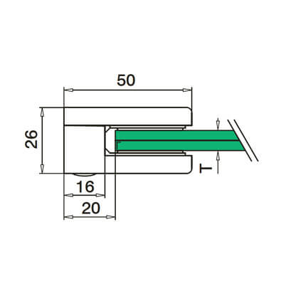 Glass Clamp - D Shape - 6mm to 8mm - Flat Mount - Dimensions