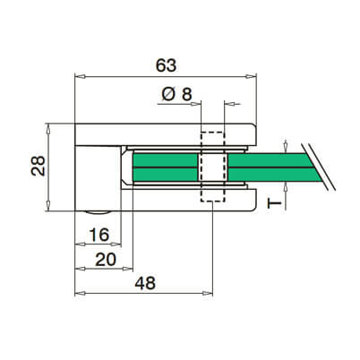 Glass Clamp - D Shape - 6mm to 10mm - Flat Mount - Dimensions