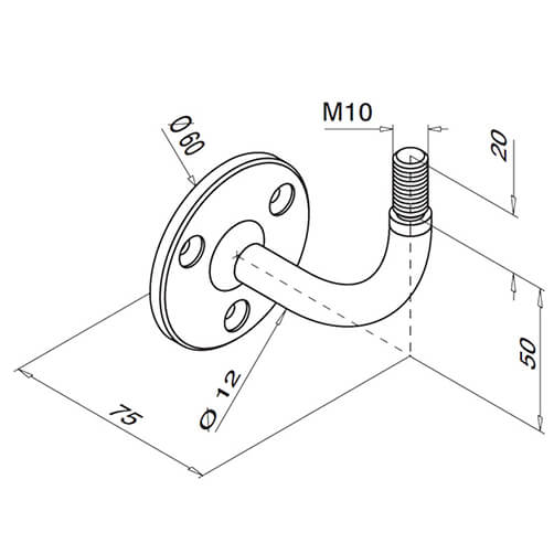 Flat Disc To Screw Fix Handrail Bracket For Modular Stainless Steel Balustrade - Diagram