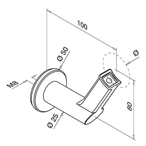 Angled Flat Plate To Tube Support Handrail Bracket For Modular Stainless Steel Balustrade - Diagram