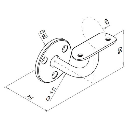 Smooth Angle Flat Fixing To Tube Support Stainless Steel Handrail Bracket - Diagram