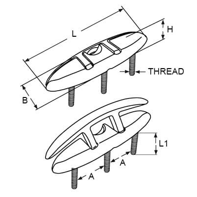 Folding Deck Cleat - M10 Thread - Dimensions