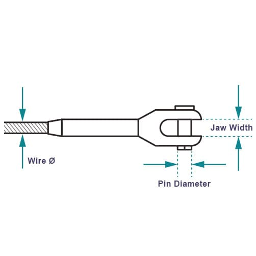 Fork End Fitting - Dimensions