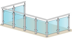 Glass Balustrade - 2 + 4 + 2 Metre