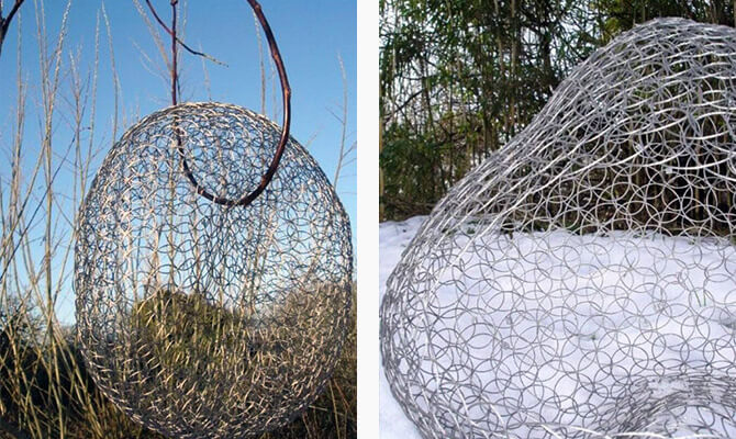 Large wire basket by Geraldine Jones