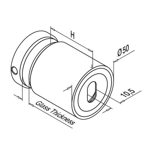 Glass Adapter - Variable Inside Thread - Dimensions
