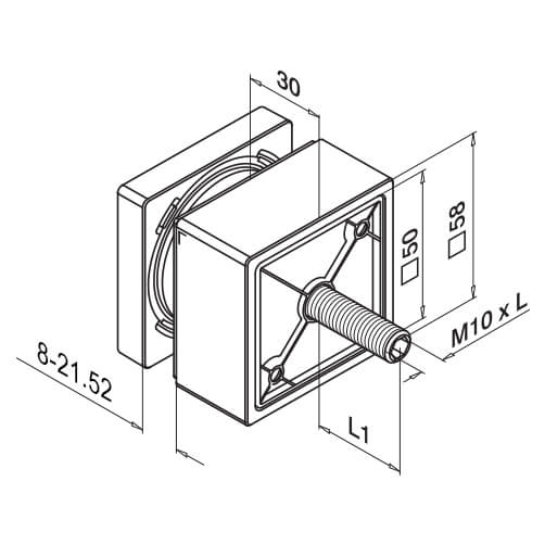 Glass Adapter Fascia Mounting - Dimensions