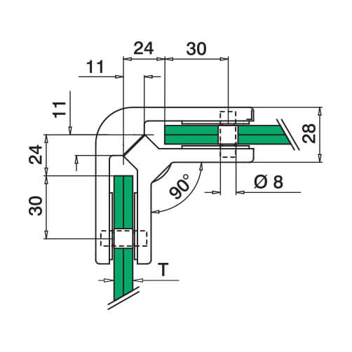 Square Glass Clamp - 90 Degree Angle- Dimensions