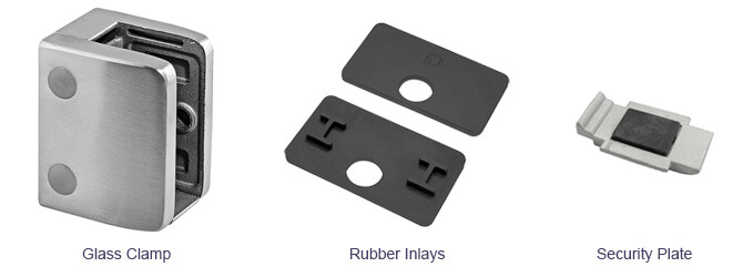 Stainless Steel Glass Clamp - Rubber Inlays - Security Plate