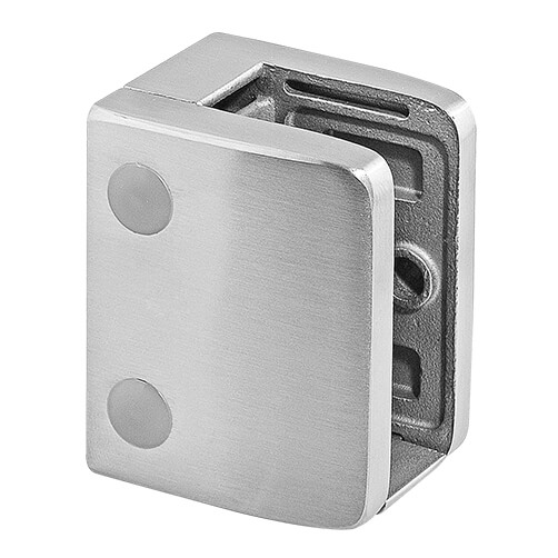 Stainless Steel Glass Clamp - Square - 19mm to 21.52mm Glass Thickness - Flat Mount