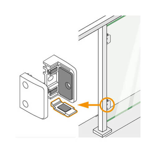 Square Glass Clamp Security Plate Application