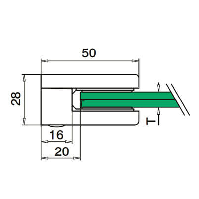 Zinc Glass Clamp - Flat Mount - Dimensions