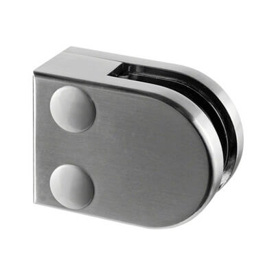 ZInc Glass Clamp - D Shape - 6mm to 8mm Glass - Flat Mount