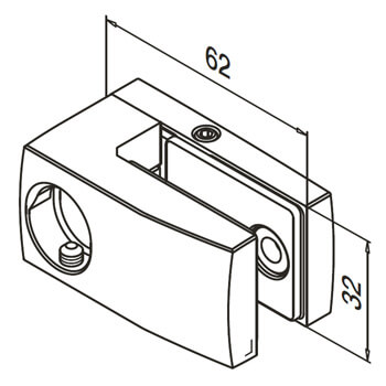 Stainless Steel Glass Clamp Detail - Right Fix - For Adapter Mounting