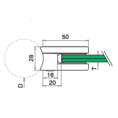 Zinc Glass Clamp - Tube Mount - Dimensions