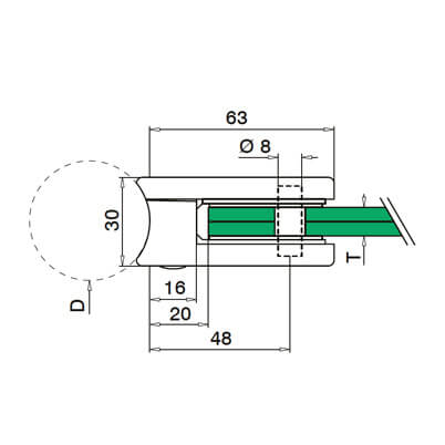 Zinc Glass Clamp - Tube Mount - D Shape - Dimensions
