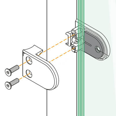 Zinc Glass Clamp - Tube Mount - D Shape - Installation