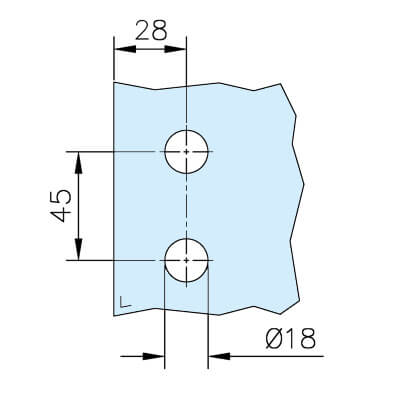 Glass Door Hinge - Rectangular - Glass Drilling
