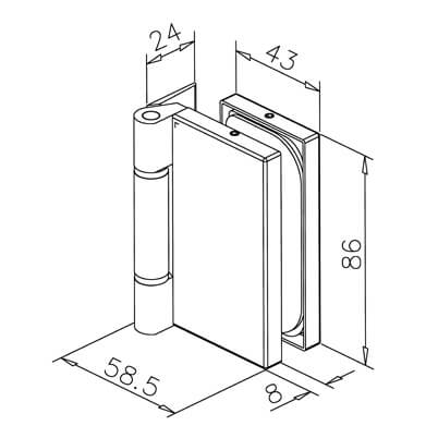 Glass Door Hinge - Rectangular - Dimensions