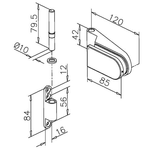 Glass Door Hinge - Long D Shape - Dimensions