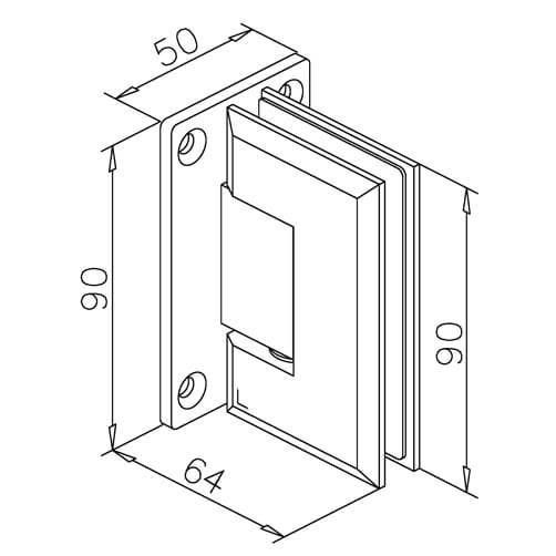 Glass Swing Door Hinge - Glass/Wall Mount - Dimensions